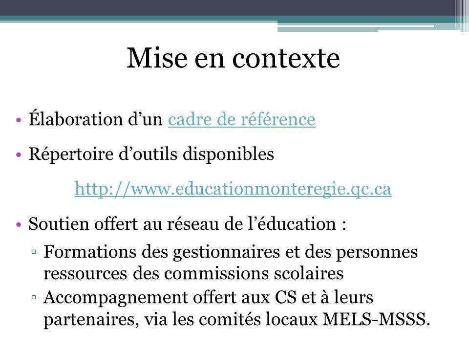 Mise en contexte Élaboration dun cadre de référencecadre de référence Répertoire doutils disponibles http://www.educationmonteregie.qc.ca Soutien offe