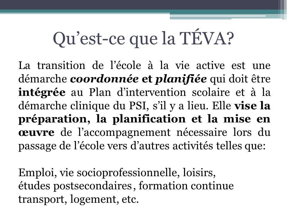 Apport du RSSS Les établissements du RSSS sont concernés par la TÉVA : En tant que partenaires du RLS; Comme agent de mise en œuvre de lentente MSSS-MELS; Par lentremise de programmes et dinterventions directes, qui permettent daméliorer la capacité des usagers à intégrer la société; À travers le soutien apporté, dans la mise en place et la coordination dun PSI, lorsque requis, afin de planifier les actions concertées des partenaires.