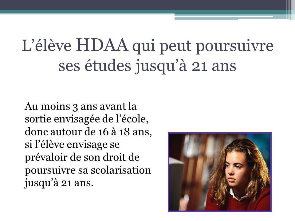 Lélève HDAA qui peut poursuivre ses études jusquà 21 ans Au moins 3 ans avant la sortie envisagée de lécole, donc autour de 16 à 18 ans, si lélève env