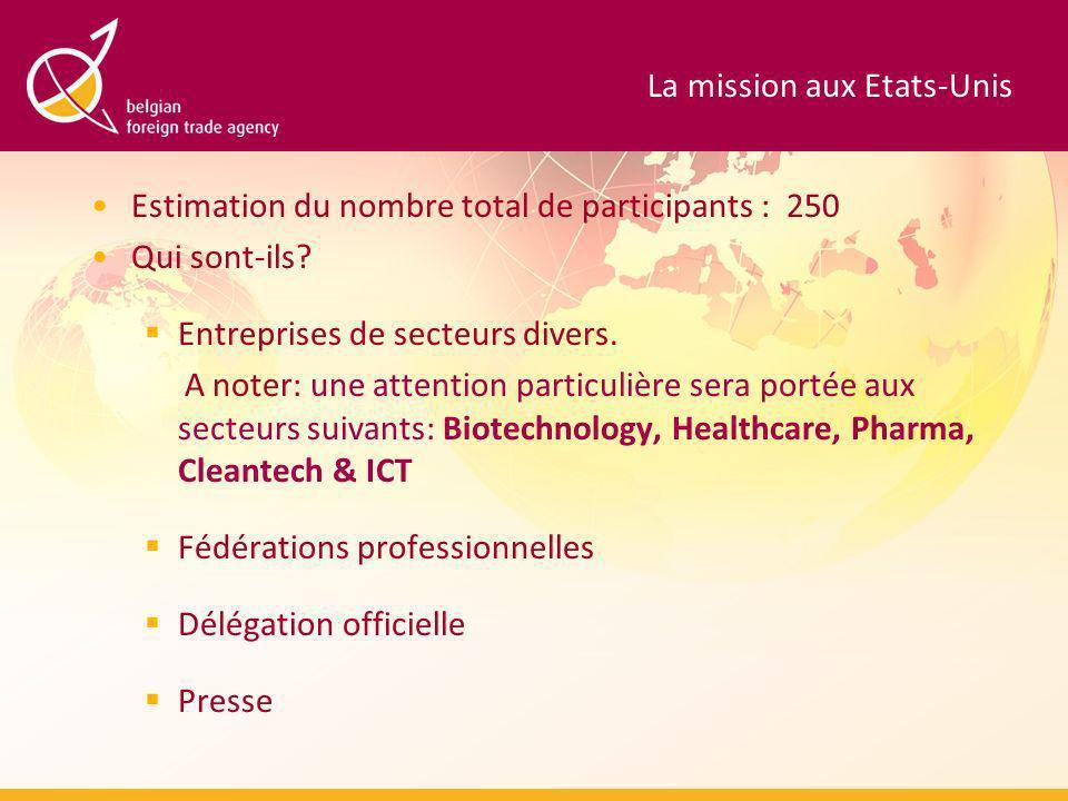 La mission aux Etats-Unis Estimation du nombre total de participants : 250 Qui sont-ils.