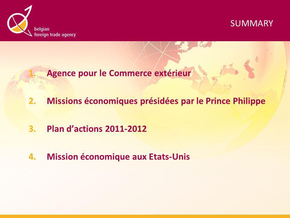 SUMMARY 1.Agence pour le Commerce extérieur 2.Missions économiques présidées par le Prince Philippe 3.Plan dactions 2011-2012 4.Mission économique aux Etats-Unis