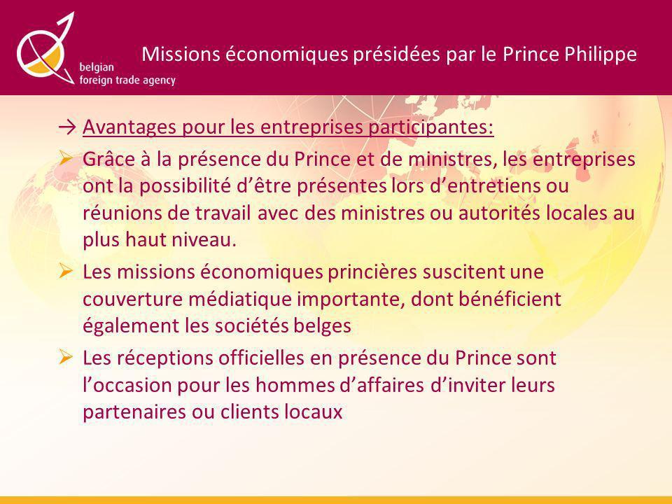 Missions économiques présidées par le Prince Philippe Avantages pour les entreprises participantes: Grâce à la présence du Prince et de ministres, les entreprises ont la possibilité dêtre présentes lors dentretiens ou réunions de travail avec des ministres ou autorités locales au plus haut niveau.