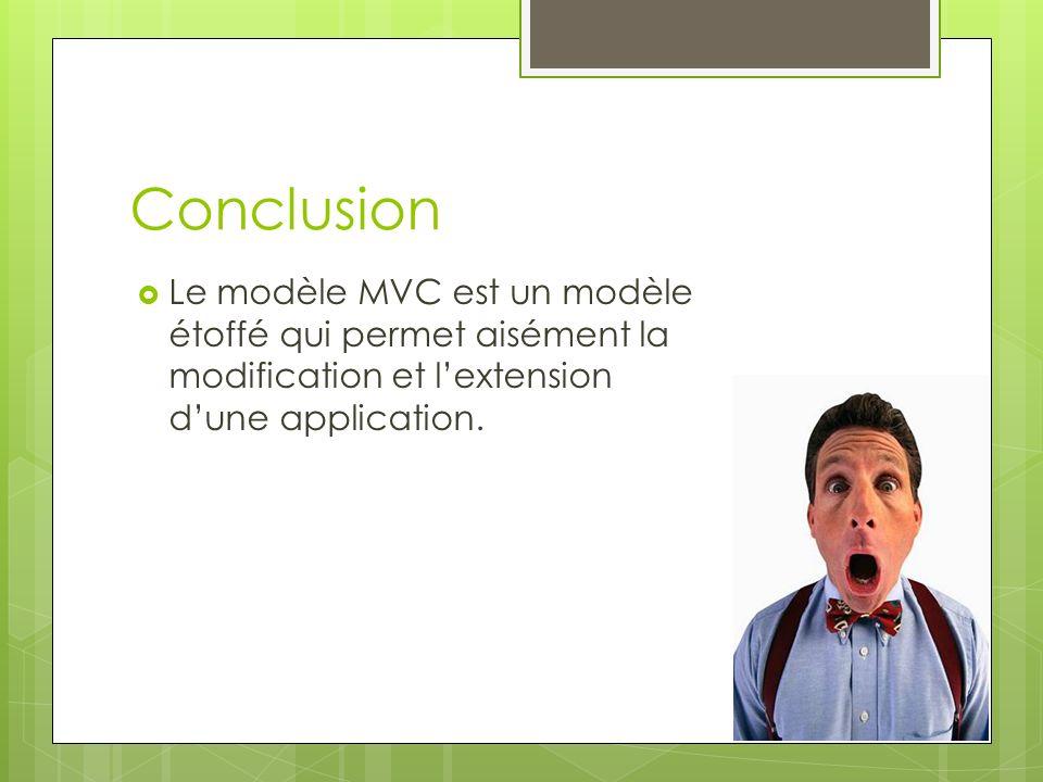 Conclusion Le modèle MVC est un modèle étoffé qui permet aisément la modification et lextension dune application.