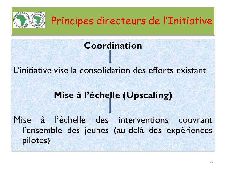 Principes directeurs de lInitiative Coordination Linitiative vise la consolidation des efforts existant Mise à léchelle (Upscaling) Mise à léchelle de