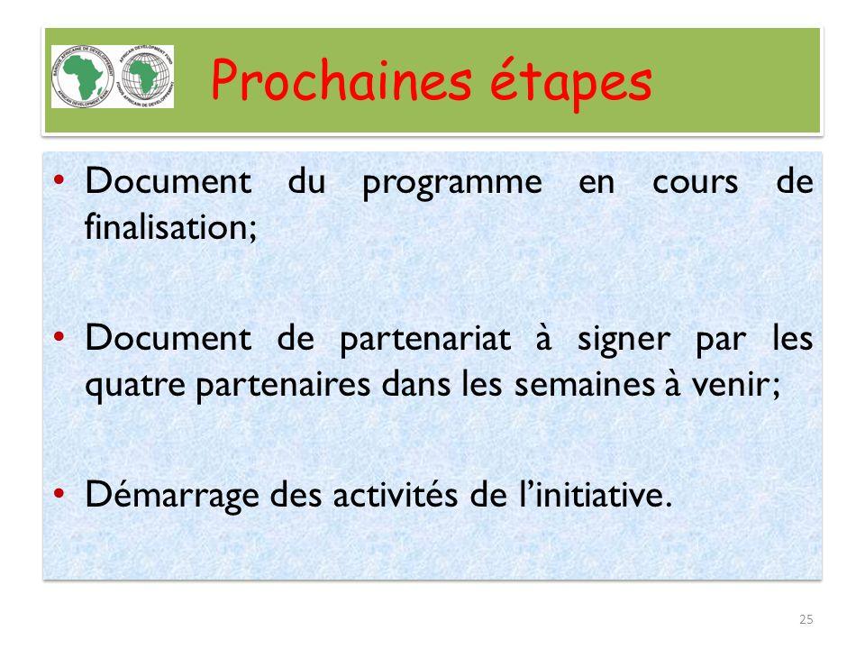 Prochaines étapes Document du programme en cours de finalisation; Document de partenariat à signer par les quatre partenaires dans les semaines à veni