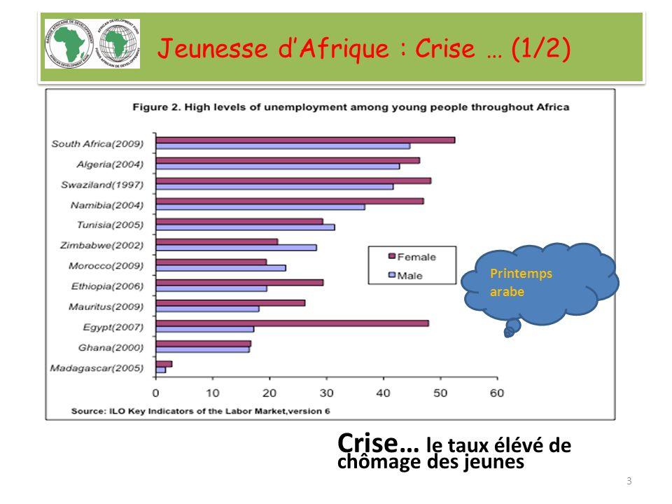 Jeunesse dAfrique : Crise … (1/2) Crise… le taux élévé de chômage des jeunes Printemps arabe 3