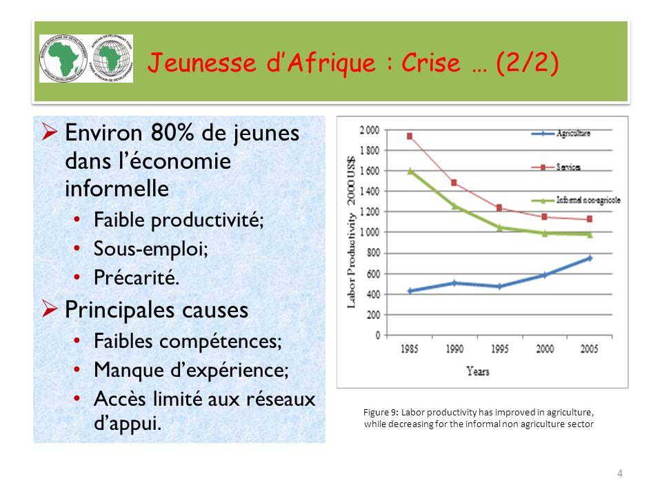 Jeunesse dAfrique : Crise … (2/2) Environ 80% de jeunes dans léconomie informelle Faible productivité; Sous-emploi; Précarité. Principales causes Faib