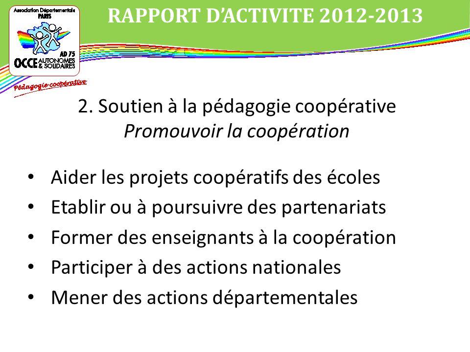 Aider les projets coopératifs des écoles Etablir ou à poursuivre des partenariats Former des enseignants à la coopération Participer à des actions nationales Mener des actions départementales RAPPORT DACTIVITE 2012-2013 2.