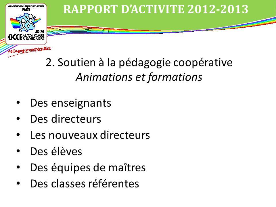 Des enseignants Des directeurs Les nouveaux directeurs Des élèves Des équipes de maîtres Des classes référentes RAPPORT DACTIVITE 2012-2013 2.