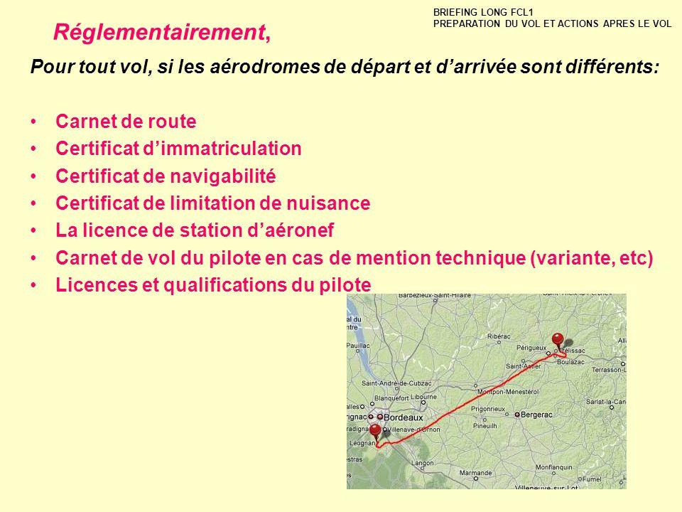 Pour tout vol, si les aérodromes de départ et darrivée sont différents: Carnet de route Certificat dimmatriculation Certificat de navigabilité Certifi
