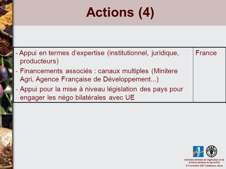Actions (4) - Appui en termes dexpertise (institutionnel, juridique, producteurs) -Financements associés : canaux multiples (Minitere Agri, Agence Fra