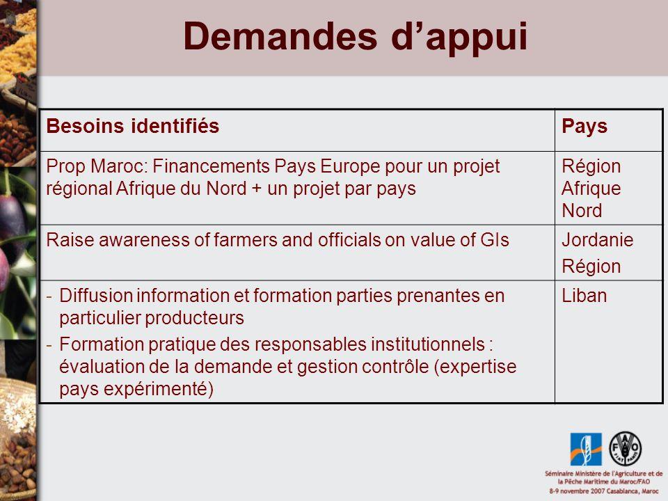 Demandes dappui Besoins identifiésPays Prop Maroc: Financements Pays Europe pour un projet régional Afrique du Nord + un projet par pays Région Afriqu