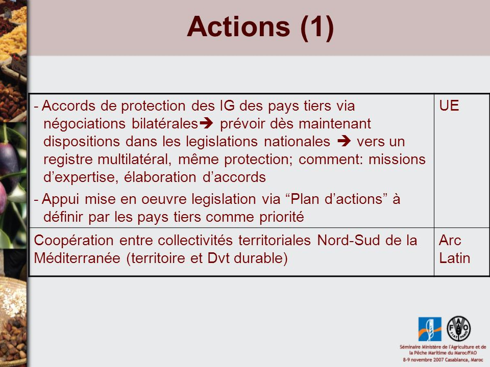 Actions (1) - Accords de protection des IG des pays tiers via négociations bilatérales prévoir dès maintenant dispositions dans les legislations natio