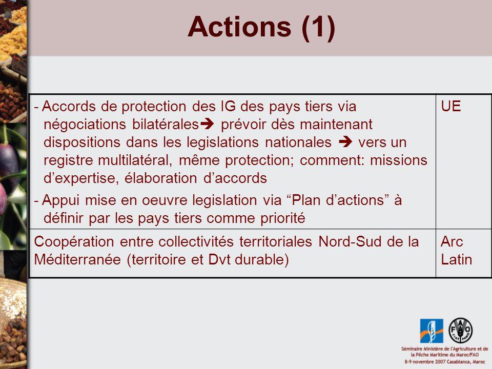 Actions (2) Développement des capacités des associations dagriculteurs: qualité, accès aux marchés...