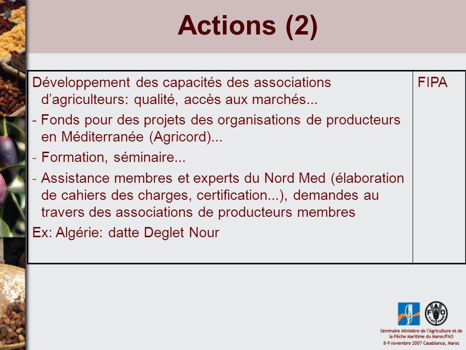 Actions (3) -Faciliter échanges informations entre producteurs -Faciliter coopérations ORIGIN - Élaboration dune formation longue (Master) sur qualité (Sept 2008) - Élaboration de cycles courts de formation (une seminae) - Réseau dexperts CIHEAM