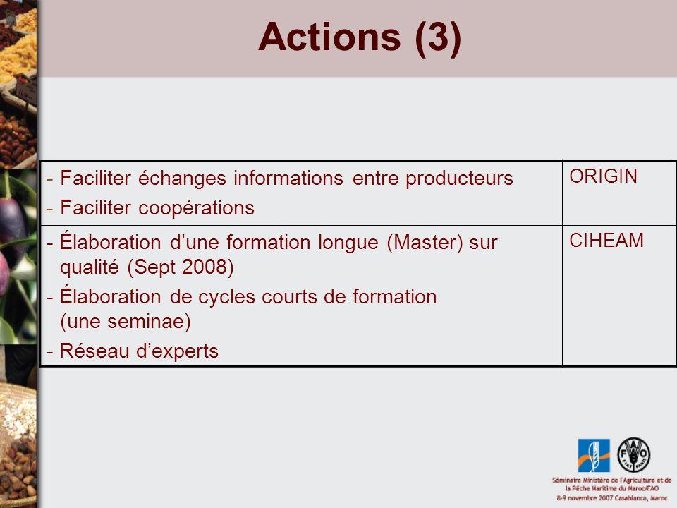 Actions (4) - Appui en termes dexpertise (institutionnel, juridique, producteurs) -Financements associés : canaux multiples (Minitere Agri, Agence Française de Développement...) -Appui pour la mise à niveau législation des pays pour engager les négo bilatérales avec UE France