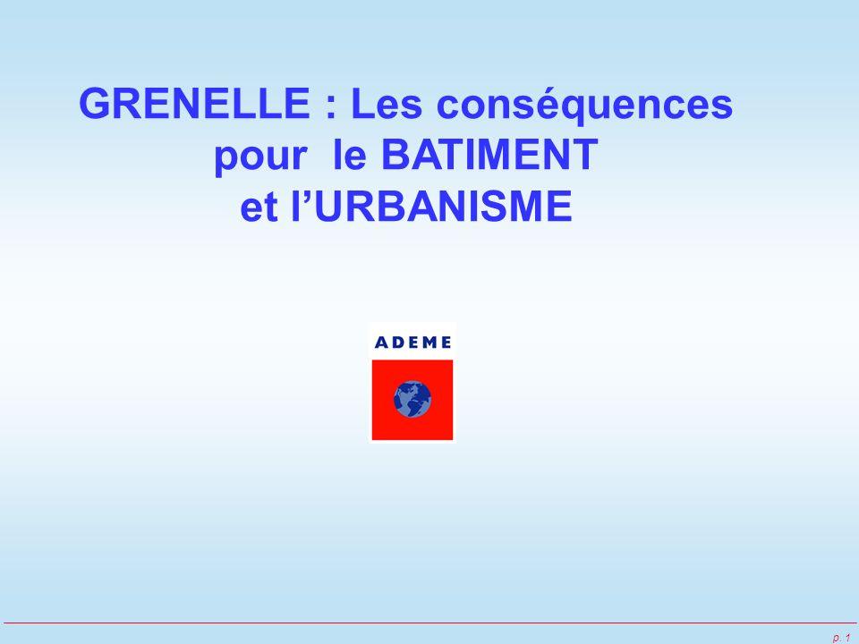 p. 1 GRENELLE : Les conséquences pour le BATIMENT et lURBANISME