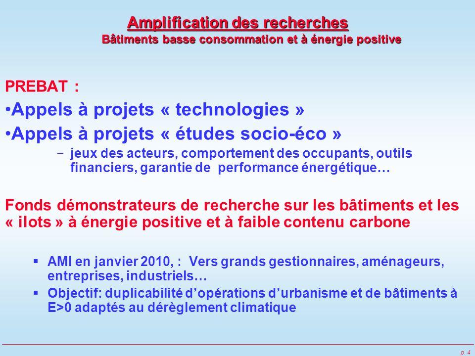 p. 4 Amplification des recherches Bâtiments basse consommation et à énergie positive PREBAT : Appels à projets « technologies » Appels à projets « étu