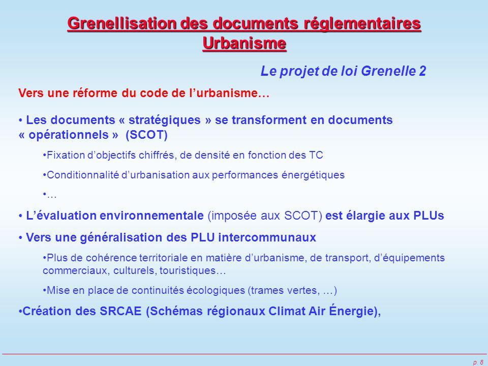 p. 8 Vers une réforme du code de lurbanisme… Les documents « stratégiques » se transforment en documents « opérationnels » (SCOT) Fixation dobjectifs