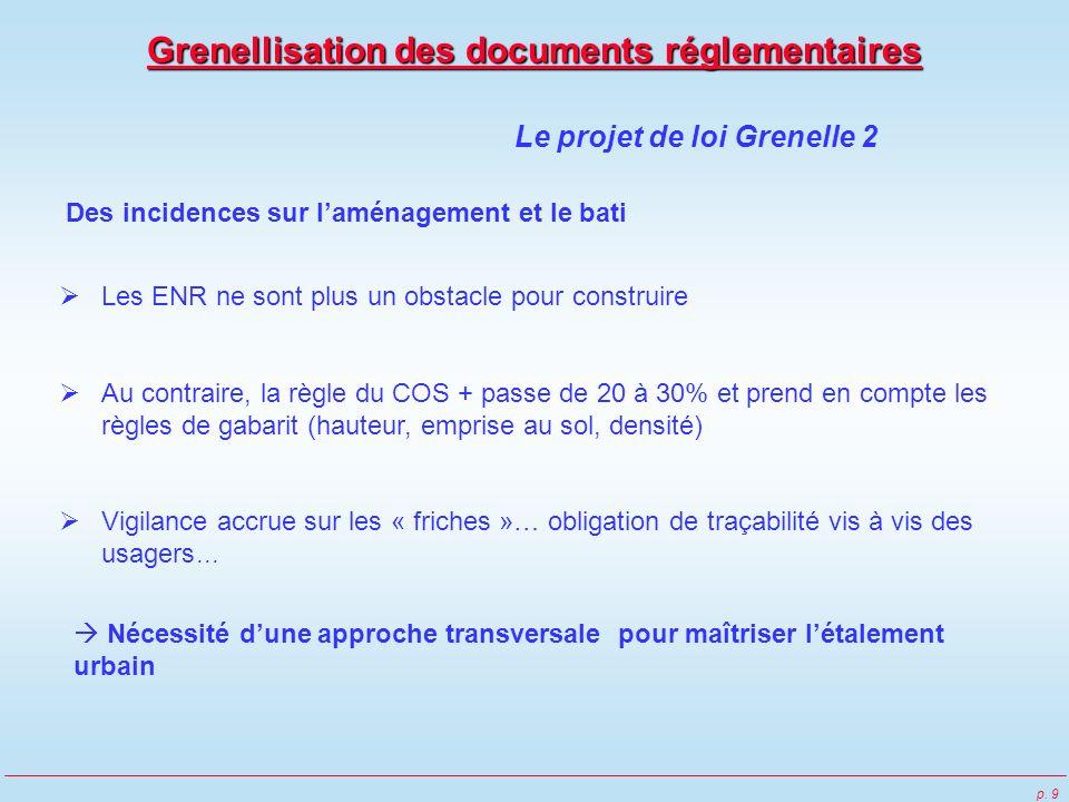 p. 9 Le projet de loi Grenelle 2 Des incidences sur laménagement et le bati Les ENR ne sont plus un obstacle pour construire Au contraire, la règle du