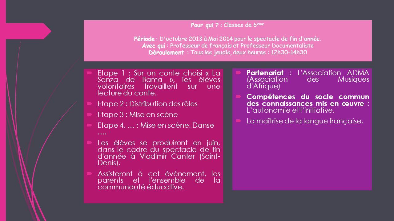 Pour qui ? : Classes de 6 ème Période : D'octobre 2013 à Mai 2014 pour le spectacle de fin d'année. Avec qui : Professeur de français et Professeur Do