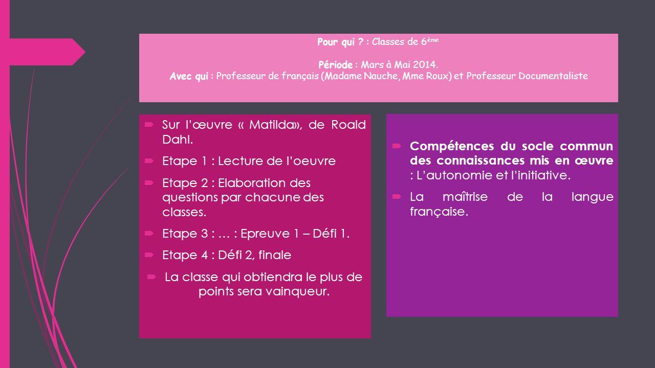 Pour qui ? : Classes de 6 ème Période : Mars à Mai 2014. Avec qui : Professeur de français (Madame Nauche, Mme Roux) et Professeur Documentaliste Sur