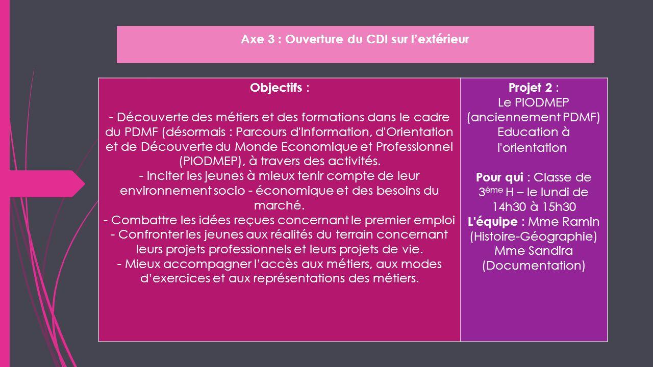Axe 3 : Ouverture du CDI sur lextérieur Objectifs : - Découverte des métiers et des formations dans le cadre du PDMF (désormais : Parcours d'Informati