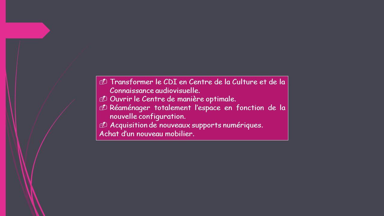 Transformer le CDI en Centre de la Culture et de la Connaissance audiovisuelle. Ouvrir le Centre de manière optimale. Réaménager totalement lespace en