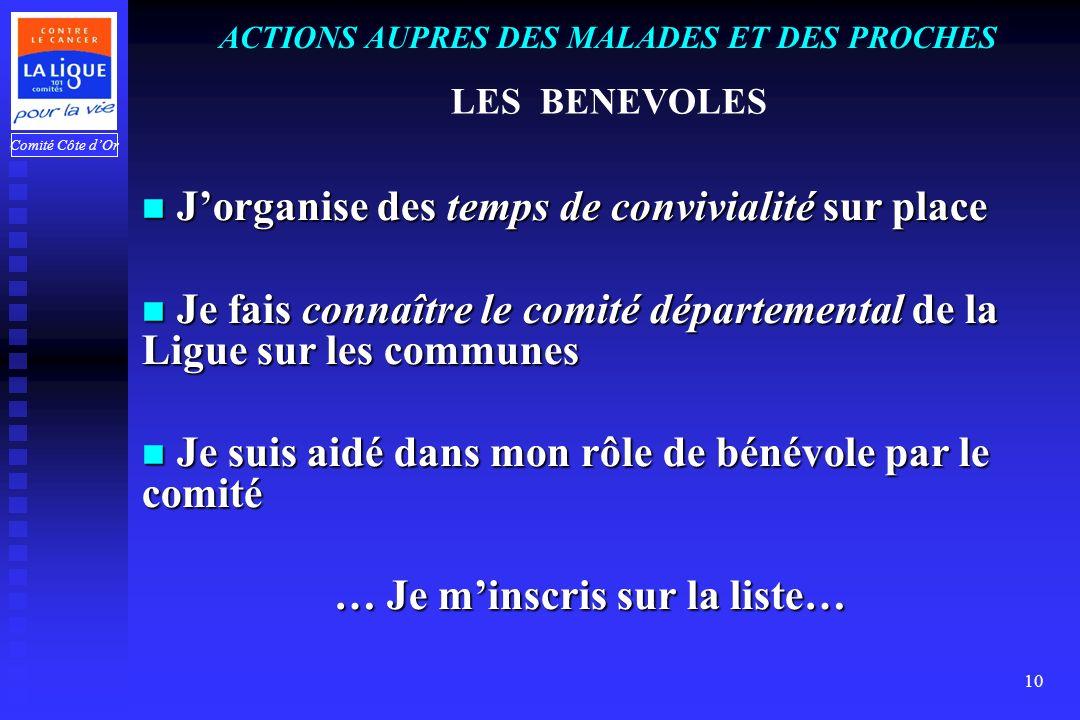 Comité Côte dOr 10 ACTIONS AUPRES DES MALADES ET DES PROCHES LES BENEVOLES J Jorganise des temps de convivialité sur place e fais connaître le comité