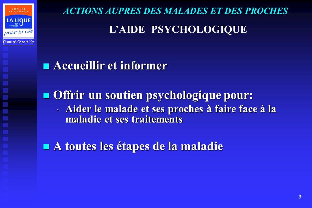 Comité Côte dOr 3 Accueillir et informer Offrir un soutien psychologique pour: Aider le malade et ses proches à faire face à la maladie et ses traitem