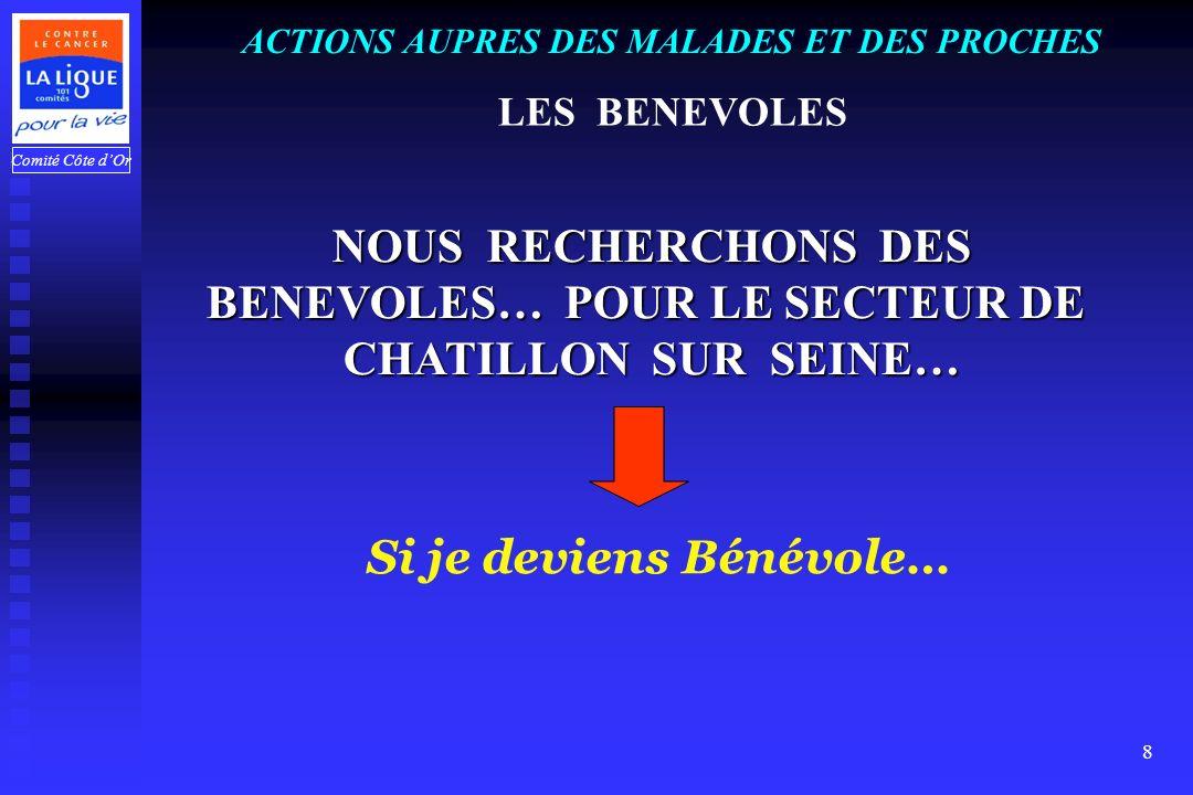 Comité Côte dOr 8 NOUS RECHERCHONS DES BENEVOLES… POUR LE SECTEUR DE CHATILLON SUR SEINE… ACTIONS AUPRES DES MALADES ET DES PROCHES LES BENEVOLES Si je deviens Bénévole…