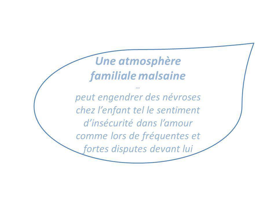 Une atmosphère familiale malsaine … peut engendrer des névroses chez lenfant tel le sentiment dinsécurité dans lamour comme lors de fréquentes et fort