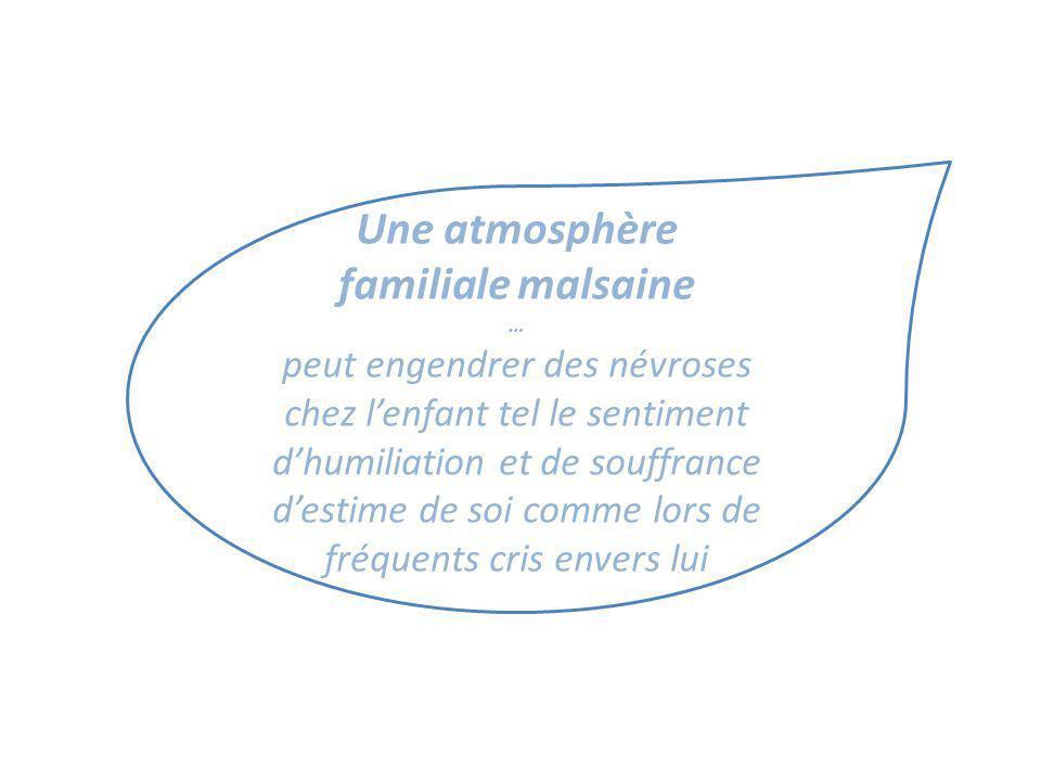 Une atmosphère familiale malsaine … peut engendrer des névroses chez lenfant tel le sentiment dhumiliation et de souffrance destime de soi comme lors