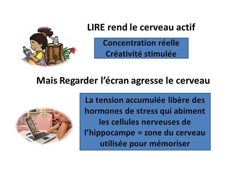 LIRE rend le cerveau actif Concentration réelle Créativité stimulée La tension accumulée libère des hormones de stress qui abiment les cellules nerveu