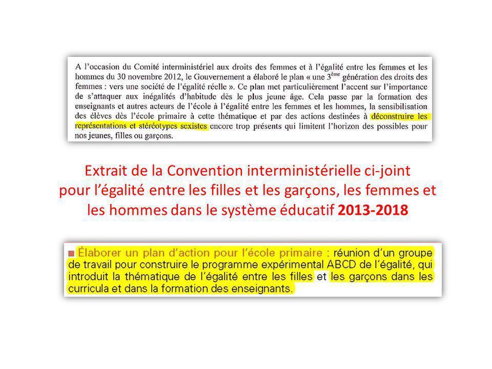 Extrait de la Convention interministérielle ci-joint pour légalité entre les filles et les garçons, les femmes et les hommes dans le système éducatif