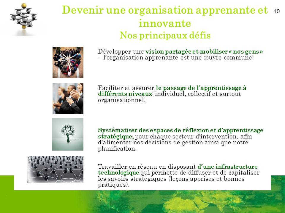 10 Devenir une organisation apprenante et innovante Nos principaux défis Développer une vision partagée et mobiliser « nos gens » – lorganisation apprenante est une œuvre commune.