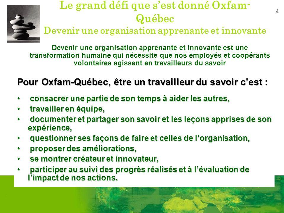 4 Le grand défi que sest donné Oxfam- Québec Devenir une organisation apprenante et innovante Devenir une organisation apprenante et innovante est une transformation humaine qui nécessite que nos employés et coopérants volontaires agissent en travailleurs du savoir Pour Oxfam-Québec, être un travailleur du savoir cest : consacrer une partie de son temps à aider les autres, consacrer une partie de son temps à aider les autres, travailler en équipe, travailler en équipe, documenter et partager son savoir et les leçons apprises de son expérience, documenter et partager son savoir et les leçons apprises de son expérience, questionner ses façons de faire et celles de lorganisation, questionner ses façons de faire et celles de lorganisation, proposer des améliorations, proposer des améliorations, se montrer créateur et innovateur, se montrer créateur et innovateur, participer au suivi des progrès réalisés et à lévaluation de limpact de nos actions.
