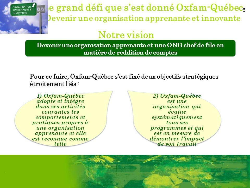 5 Le grand défi que sest donné Oxfam-Québec Devenir une organisation apprenante et innovante ORGANISATION APPRENANTE ET INNOVANTE 1) Oxfam-Québec adop