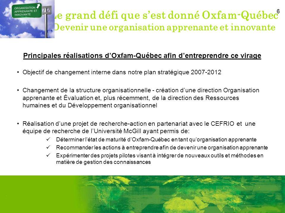 6 Le grand défi que sest donné Oxfam-Québec Devenir une organisation apprenante et innovante Principales réalisations dOxfam-Québec afin dentreprendre ce virage Objectif de changement interne dans notre plan stratégique 2007-2012 Changement de la structure organisationnelle - création dune direction Organisation apprenante et Évaluation et, plus récemment, de la direction des Ressources humaines et du Développement organisationnel Réalisation dune projet de recherche-action en partenariat avec le CEFRIO et une équipe de recherche de lUniversité McGill ayant permis de: Déterminer létat de maturité dOxfam-Québec en tant quorganisation apprenante Recommander les actions à entreprendre afin de devenir une organisation apprenante Expérimenter des projets pilotes visant à intégrer de nouveaux outils et méthodes en matière de gestion des connaissances ORGANISATION APPRENANTE ET INNOVANTE