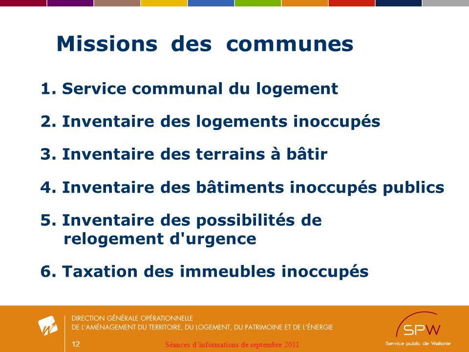 12 Missions des communes 1. Service communal du logement 2.