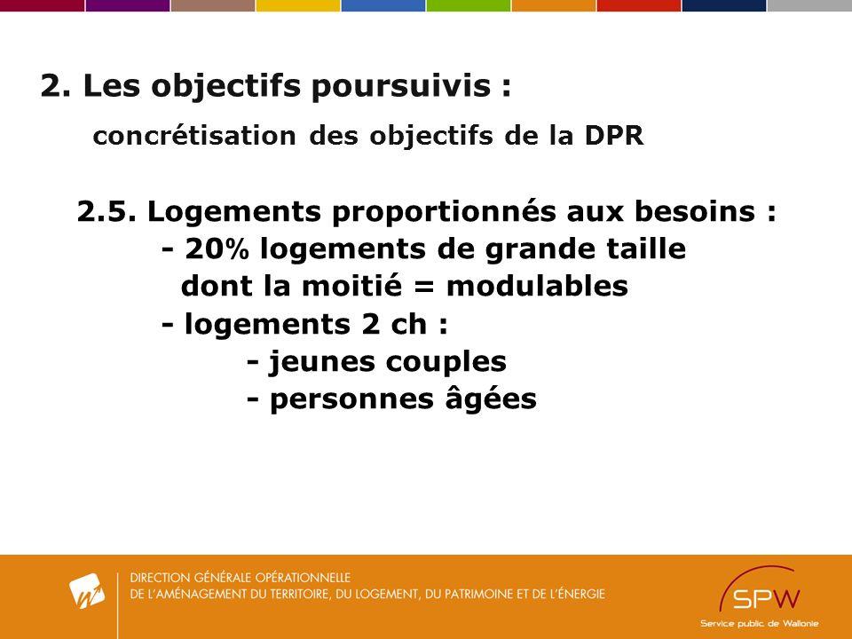 2. Les objectifs poursuivis : concrétisation des objectifs de la DPR 2.5.