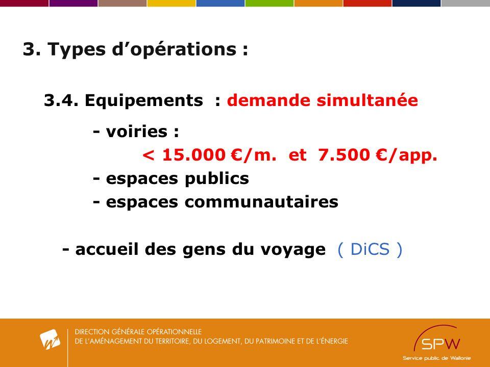 3. Types dopérations : 3.4. Equipements : demande simultanée - voiries : < 15.000 /m.