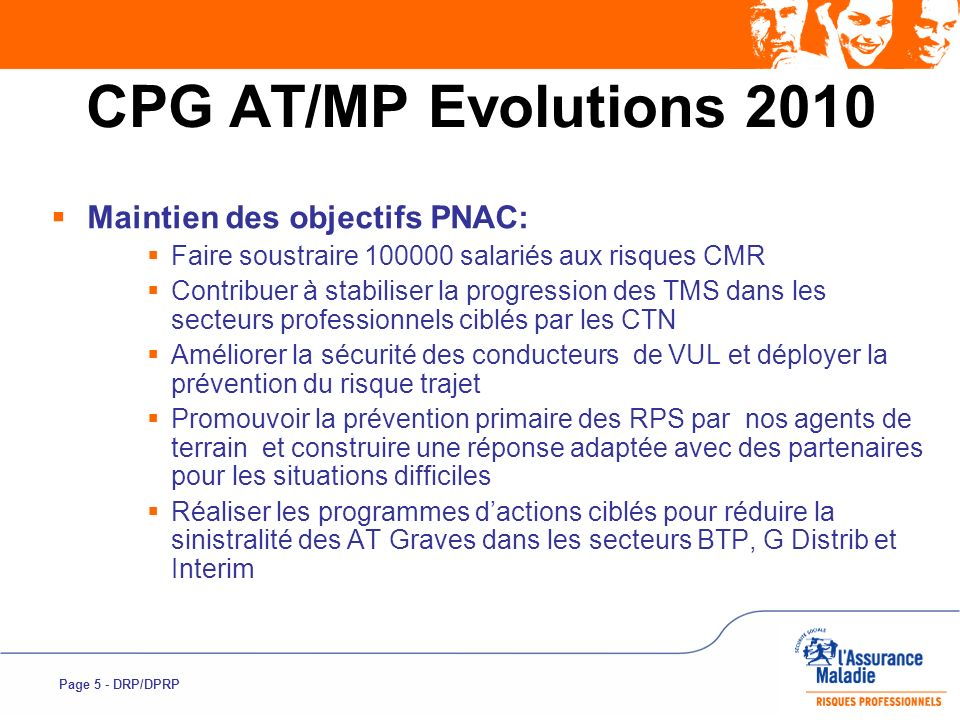 Page 6 - DRP/DPRP CPG AT/MP Evolutions 2010 Adaptation de certaines actions ou indicateurs selon propositions des champs coordonnés Interim : suite aux résultats ETT 2009 réduire et étaler le % dEts à visiter dici 2012 : 25% en 2010, 30% en 2011, 35% en 2012 Elargir la cible EU à tous les CTN, avec un nombre dEts à visiter par région dont 60% dans les CTN A, B et E Risque Routier : en 2010 le nombre dactions collectives sur le risque trajet à réaliser sera de 50% du nombre de départements (possibilité de plusieurs actions dans le même département).