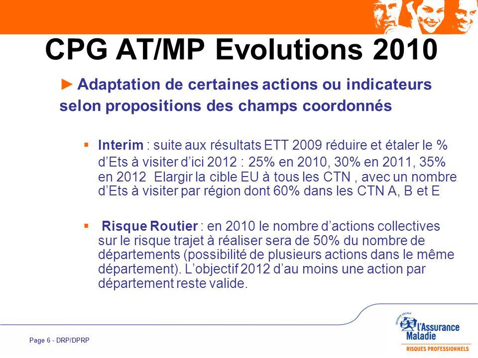 Page 6 - DRP/DPRP CPG AT/MP Evolutions 2010 Adaptation de certaines actions ou indicateurs selon propositions des champs coordonnés Interim : suite au