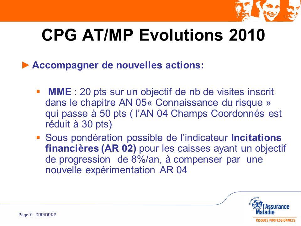 Page 7 - DRP/DPRP CPG AT/MP Evolutions 2010 Accompagner de nouvelles actions: MME : 20 pts sur un objectif de nb de visites inscrit dans le chapitre A