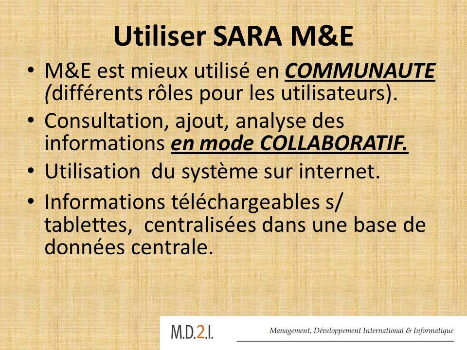Utiliser SARA M&E M&E est mieux utilisé en COMMUNAUTE (différents rôles pour les utilisateurs). Consultation, ajout, analyse des informations en mode