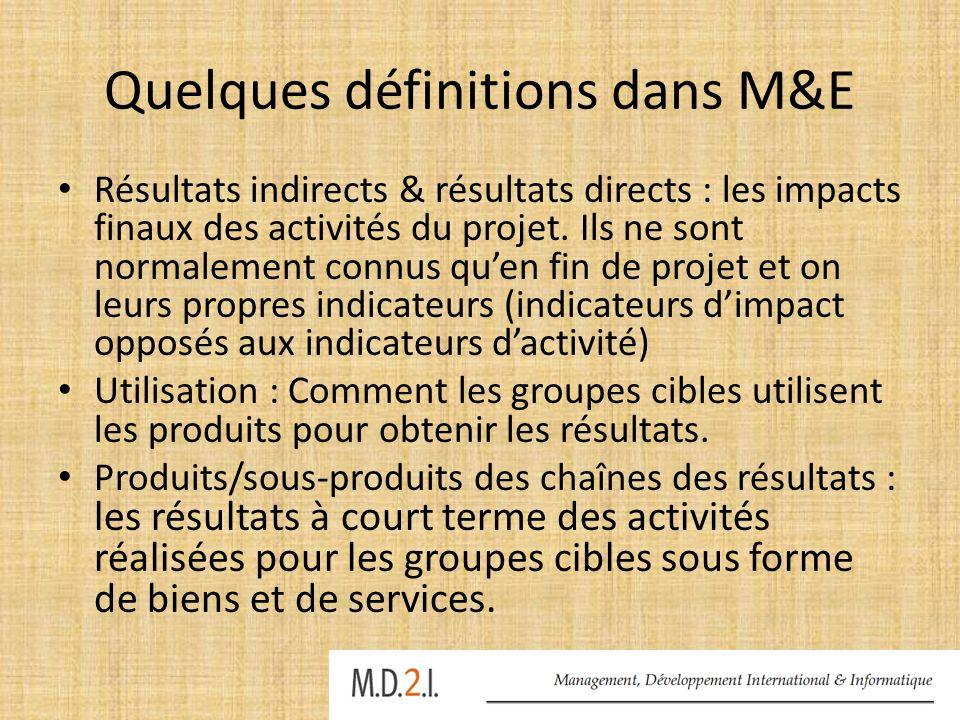 Quelques définitions dans M&E (2) Indicateurs : permettent de décrire /de mesurer les résultats ou les impacts obtenus à chaque niveau de la chaîne par rapport à une valeur de référence.
