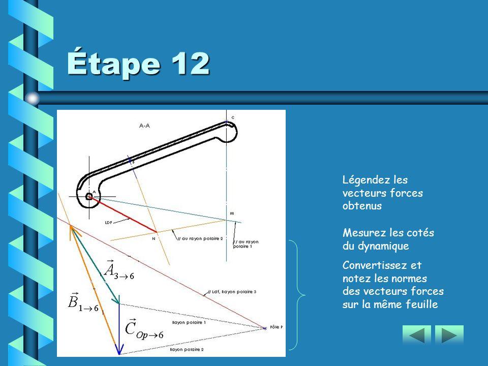 Étape 12 Légendez les vecteurs forces obtenus Mesurez les cotés du dynamique Convertissez et notez les normes des vecteurs forces sur la même feuille