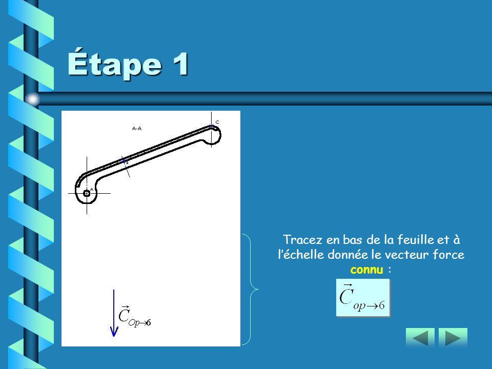 Étape 1 Tracez en bas de la feuille et à léchelle donnée le vecteur force connu :