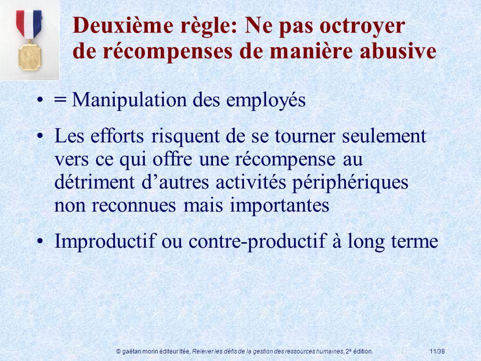 © gaëtan morin éditeur ltée, Relever les défis de la gestion des ressources humaines, 2 e édition.11/38 Deuxième règle: Ne pas octroyer de récompenses